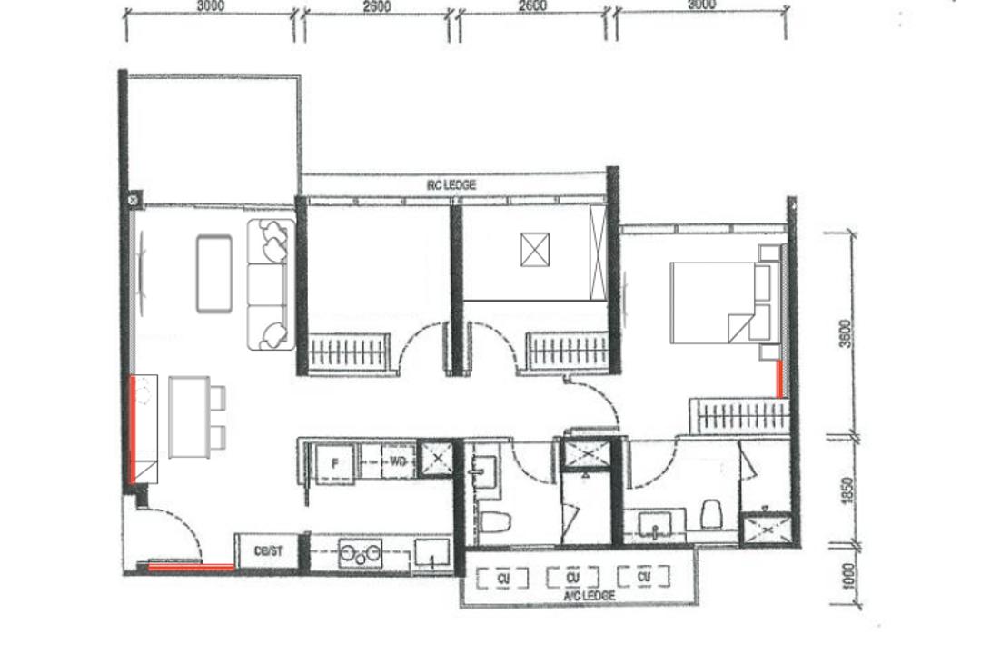 The Tapestry, Fifth Avenue Interior, Contemporary, Condo, 2 Bedder Condo Floorplan, Finalised Floorplan