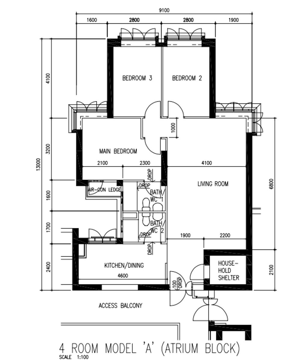 Contemporary, HDB, Tanglin Halt, Interior Designer, i-Chapter, 4 Room Hdb Floorplan, 4 Room Model A Atrium Block, Original Floorplan