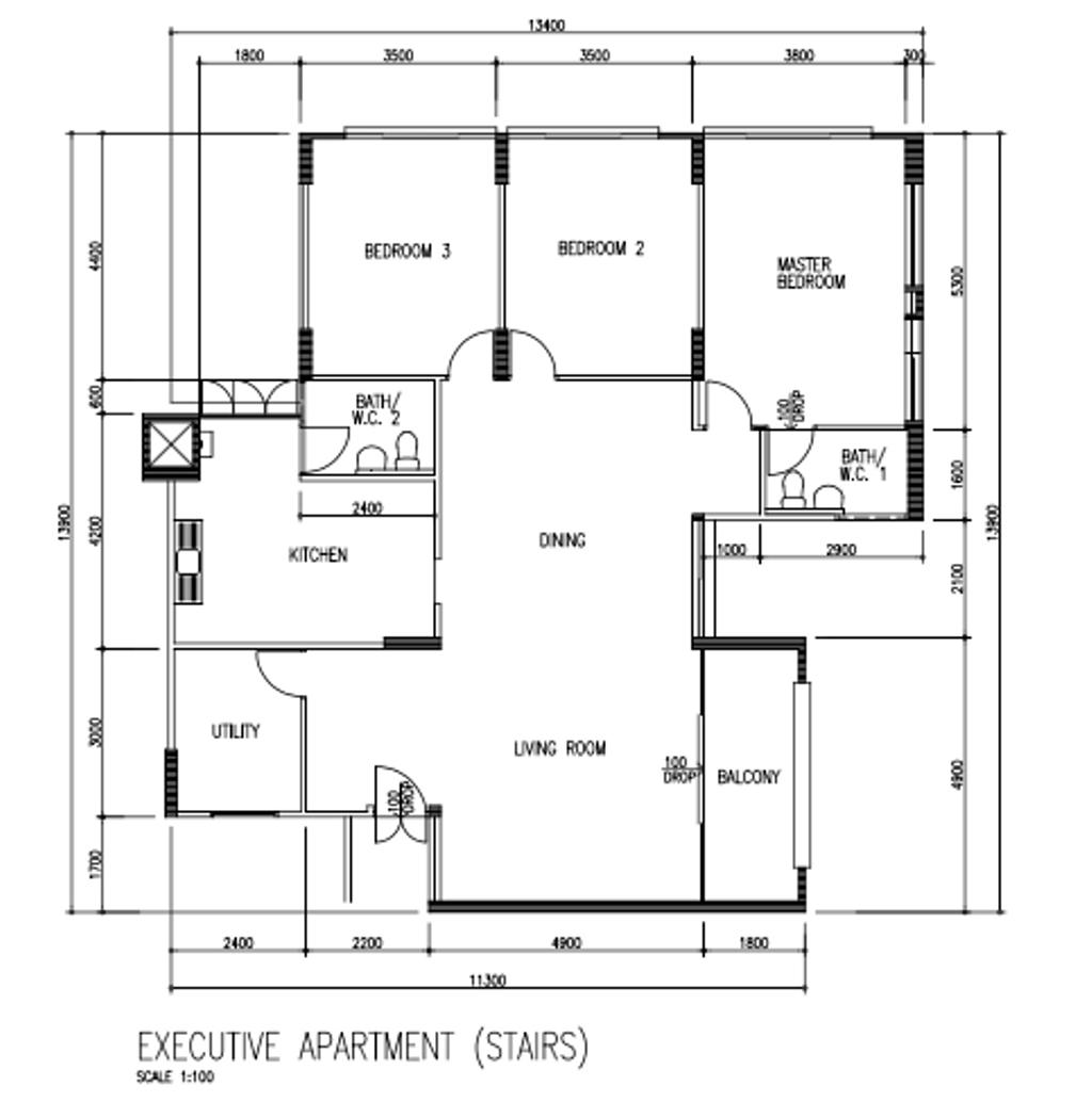 Contemporary, HDB, Pending Road, Interior Designer, i-Chapter, Executive Apartment Floorplan, Stairs, Original Floorplan