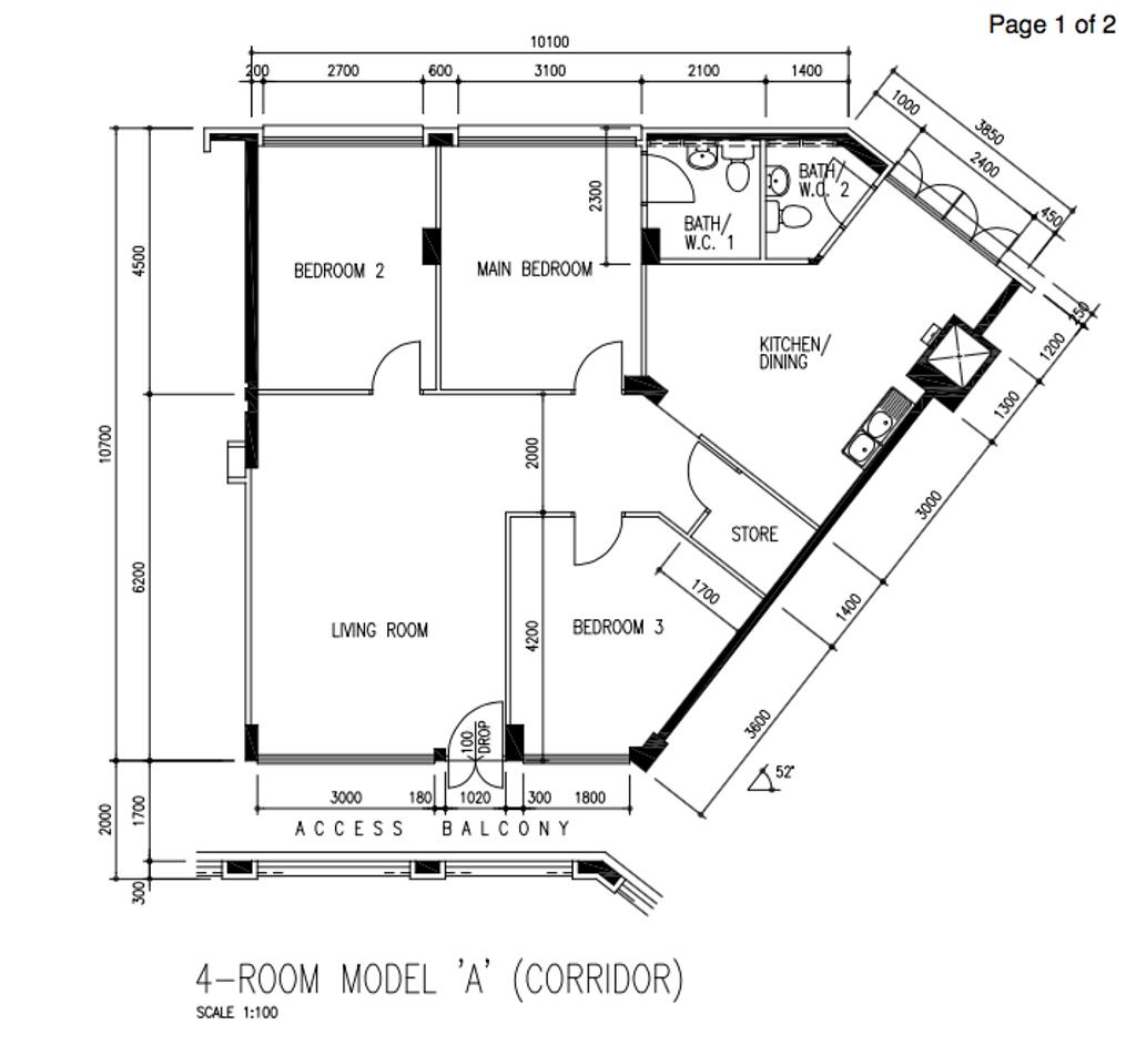 Modern, HDB, Bishan Street 24, Interior Designer, Arteloft, Scandinavian, 4 Room Hdb Floorplan, 4 Room Model A Corridor, Original Floorplan