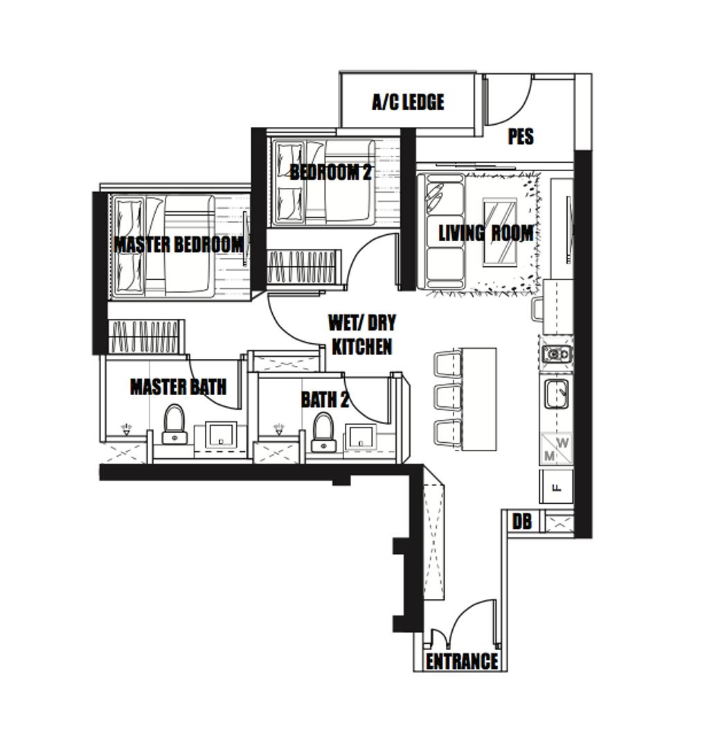Contemporary, Condo, Gem Residences, Interior Designer, Design 4 Space, 2 Bedder Condo Floorplan, Final Floorplan