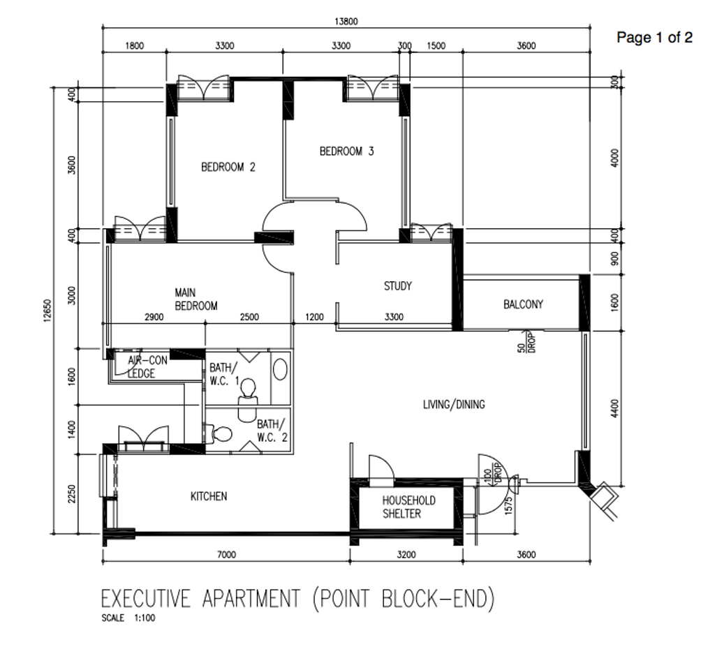 Contemporary, HDB, Anchorvale Link, Interior Designer, Design 4 Space, Scandinavian, Executive Apartment Floorplan, Executive Apartment Point Block End, Original Floorplan