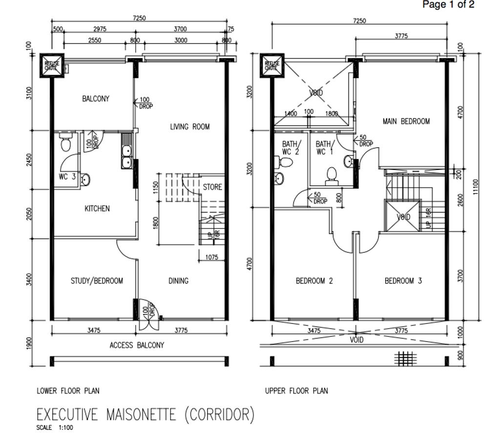 Scandinavian, HDB, Tampines Street 81, Interior Designer, A Blue Cube Design, Executive Maisonette Floorplan, Executive Maisonette Corridor, Original Floorplan