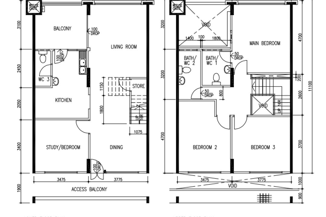 Tampines Street 81, A Blue Cube Design, Scandinavian, HDB, Executive Maisonette Floorplan, Executive Maisonette Corridor, Original Floorplan