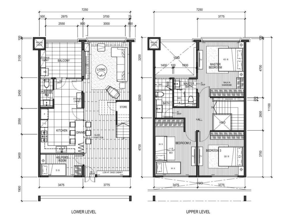 Scandinavian, HDB, Tampines Street 81, Interior Designer, A Blue Cube Design, Executive Maisonette Floorplan, Executive Maisonette Corridor, Final Floorplan