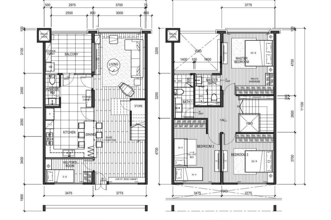 Tampines Street 81, A Blue Cube Design, Scandinavian, HDB, Executive Maisonette Floorplan, Executive Maisonette Corridor, Final Floorplan