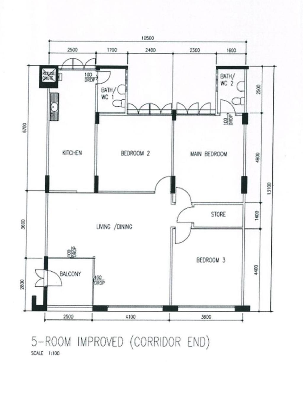 Contemporary, HDB, Bishan Street 13, Interior Designer, Design 4 Space, 5 Room Hdb Floorplan, 5 Room Improved Corridor End, Original Floorplan