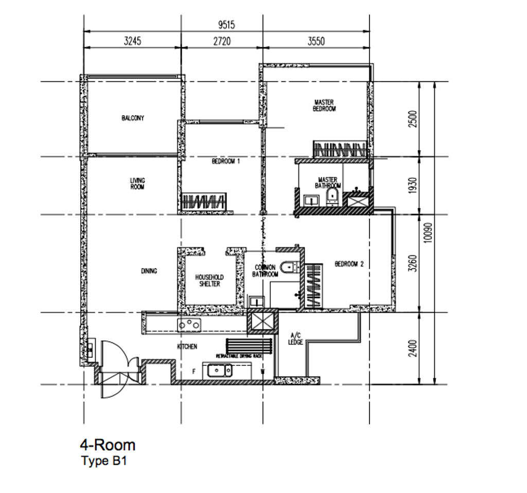 Eclectic, HDB, Parkland Residences, Interior Designer, Design 4 Space, 4 Room Dbss Floorplan, 4 Room Type B 1, Original Floorplan