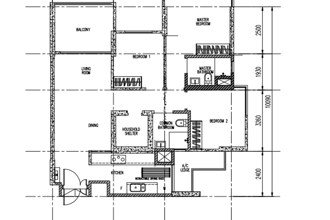 Parkland Residences, Design 4 Space, Eclectic, HDB, 4 Room Dbss Floorplan, 4 Room Type B 1, Original Floorplan