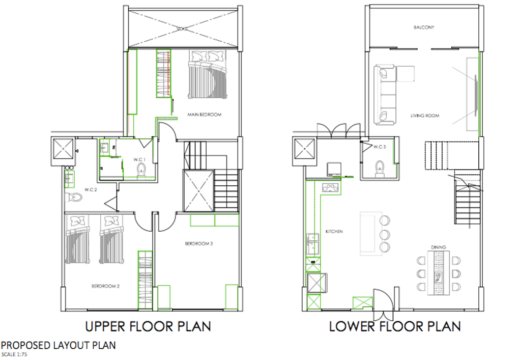 Contemporary, HDB, Bedok South Avenue 3, Interior Designer, The Roomakers, Executive Maisonette Hdb Floorplan, Executive Maisonette Corridor Final Floorplan