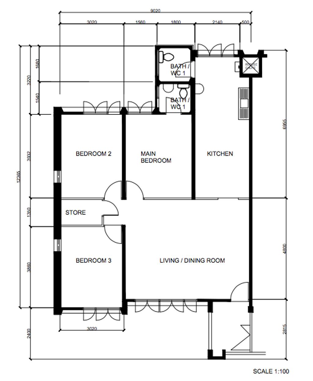 Contemporary, HDB, Yishun Street 21, Interior Designer, Metier Planner, 4 Room Hdb Floorplan, Original Floorplan