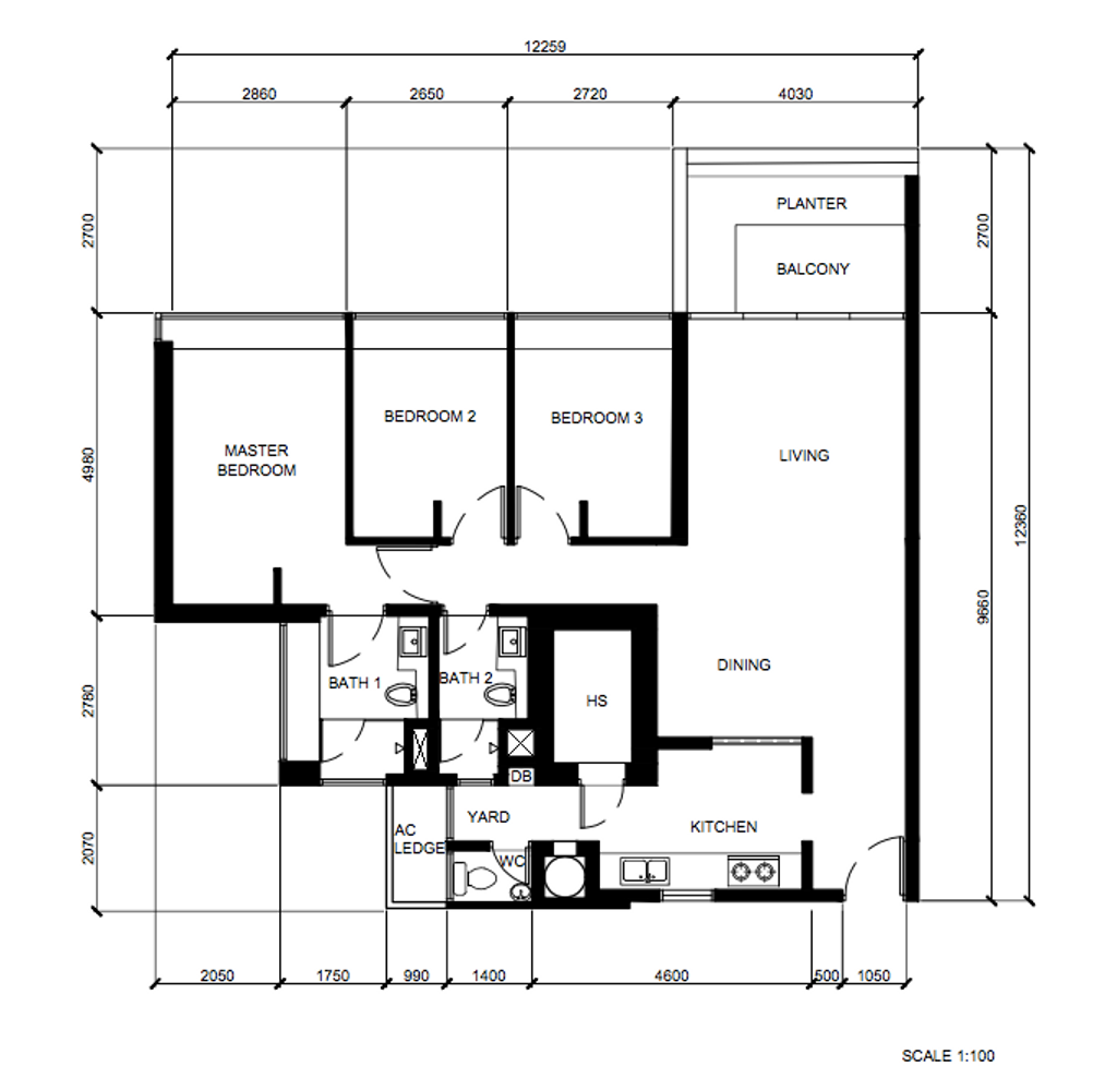 Modern, HDB, The Minton, Interior Designer, Metier Planner, Scandinavian, 3 Bedder Condo Floorplan, Original Floorplan