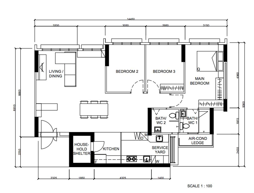 Modern, HDB, Sengkang West Road, Interior Designer, Metier Planner, Scandinavian, 5 Room Hdb Floorplan, Final Floorplan