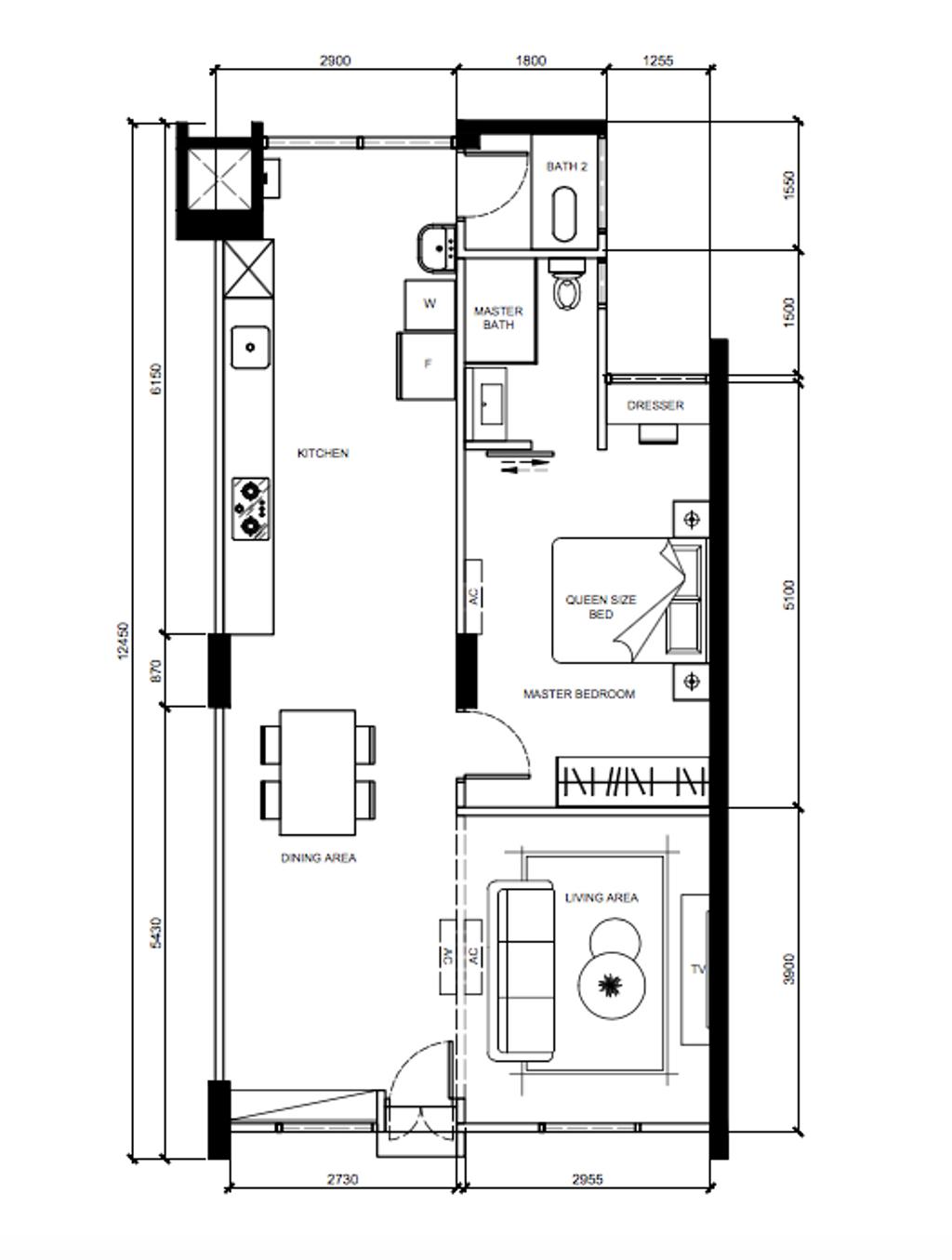 Contemporary, HDB, Clementi Avenue 4, Interior Designer, Archive Design, 3 Room Hdb Floorplan, 3 Room New Flat Corridor, Final Floorplan