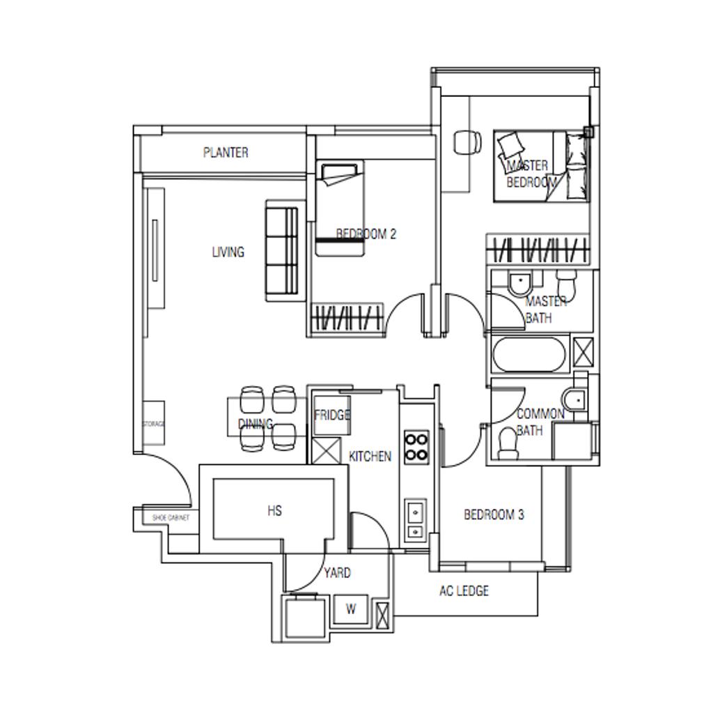Contemporary, Condo, Sunglade, Interior Designer, Ovon Design, 3 Bedder Condo Floorplan, Original Floorplan