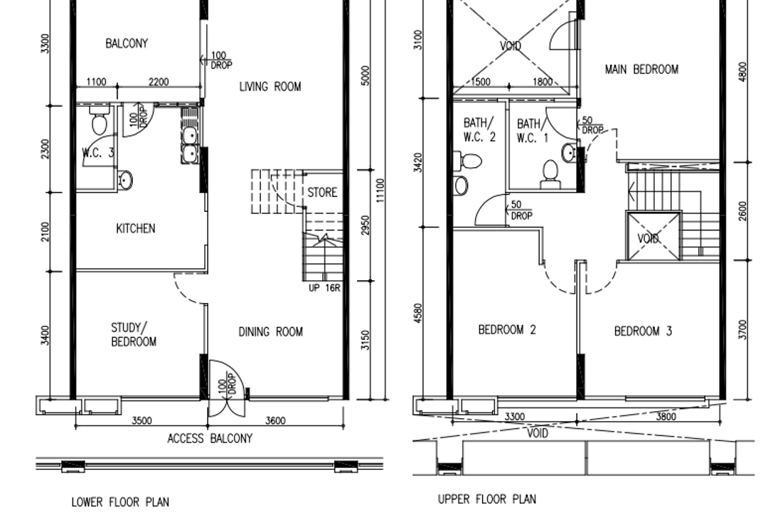 Pasir Ris Street 41, Renex Interior, Transitional, Contemporary, HDB, Executive Maisonette Hdb Floorplan, Executive Maisonette Corridor, Original Floorplan