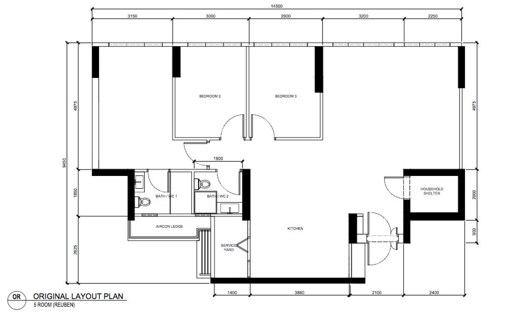 Scandinavian, HDB, Tampines North Drive 1, Interior Designer, Archive Design, Contemporary, 5 Room Hbd Floorplan, Original Floorplan