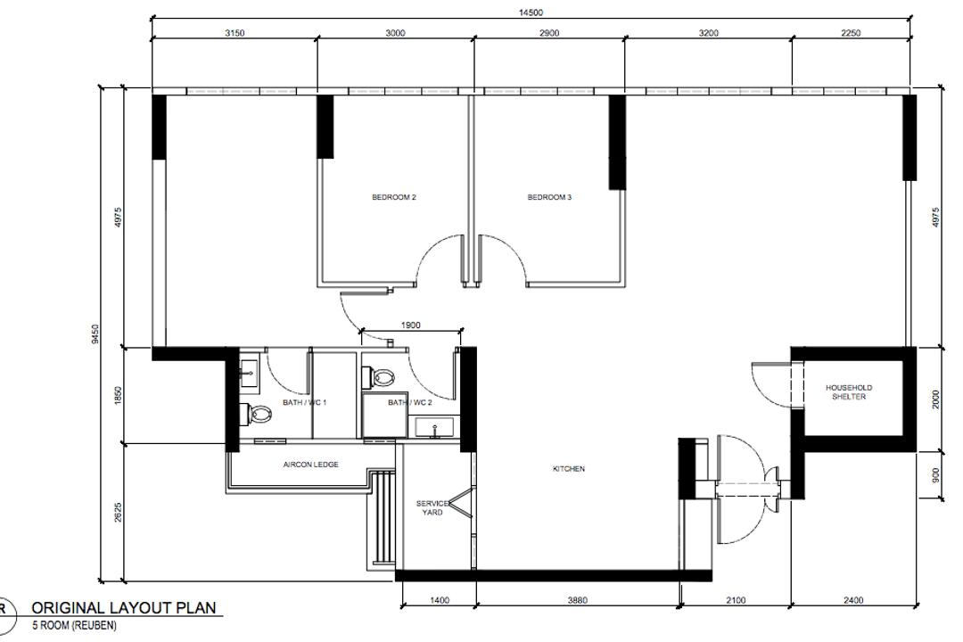 Tampines North Drive 1, Archive Design, Scandinavian, Contemporary, HDB, 5 Room Hbd Floorplan, Original Floorplan