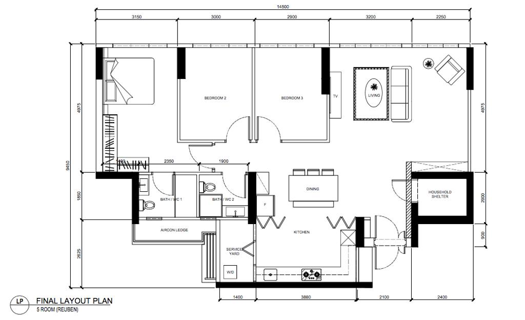 Scandinavian, HDB, Tampines North Drive 1, Interior Designer, Archive Design, Contemporary, 5 Room Hdb Floorplan, Final Floorplan