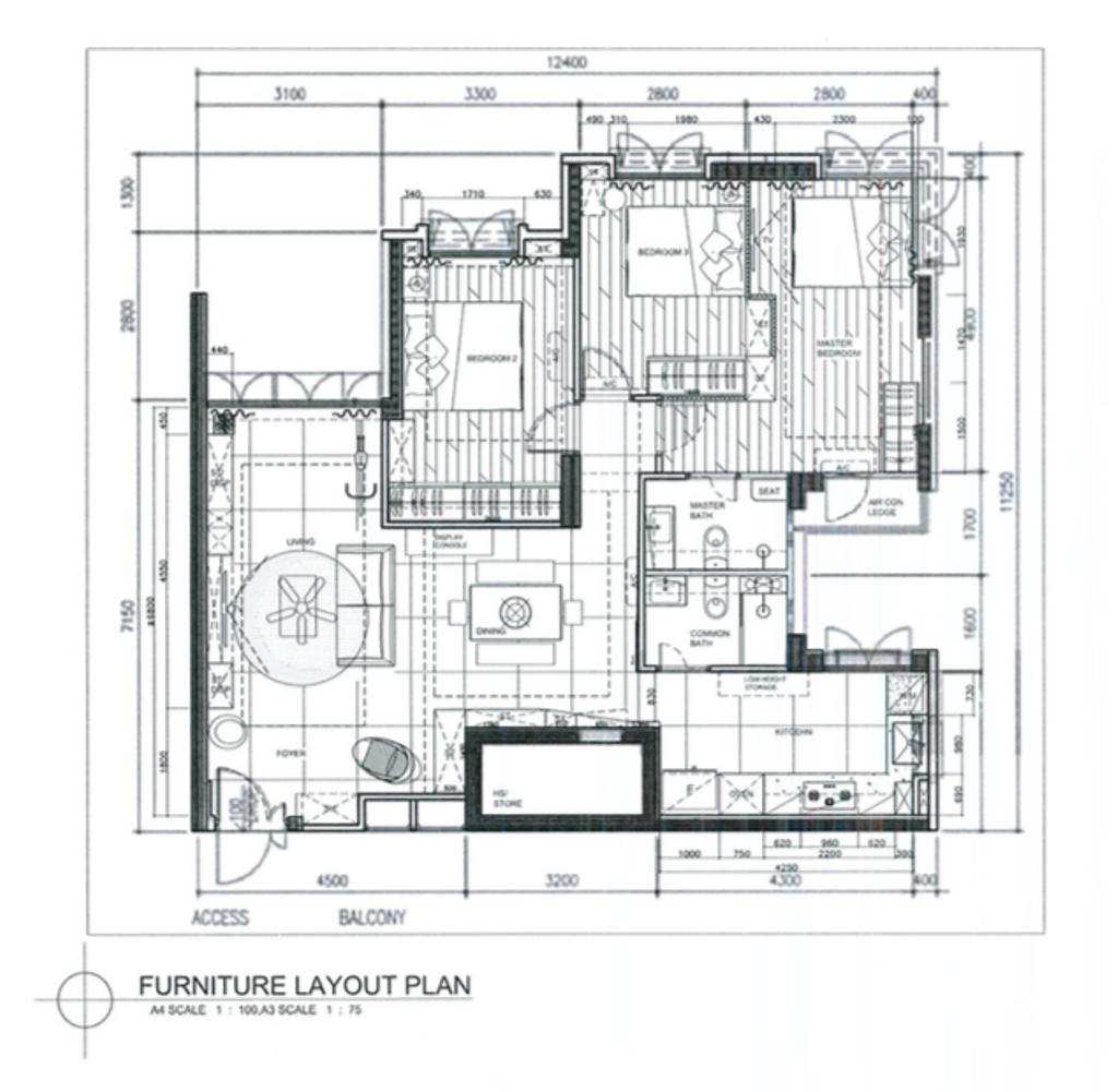 Contemporary, HDB, Edgedale Plains, Interior Designer, Space Atelier, 5 Room Hdb Floorplan, Final Floorplan