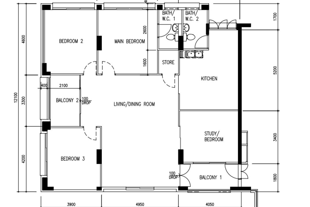 Tampines Street 33, The Interior Lab, Scandinavian, HDB, Executive Apartment Hdb Floorplan, Executive Apartment Point Block, Original Floorplan