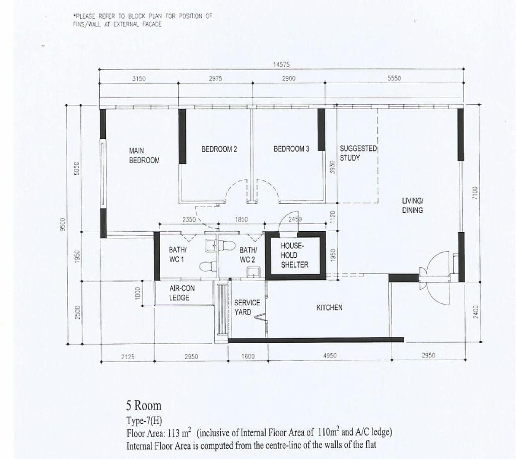 Contemporary, HDB, Tampines Street 62, Interior Designer, Design Story, 5 Room Hdb Floorplan, 5 Room, Type 7 H, Original Floorplan