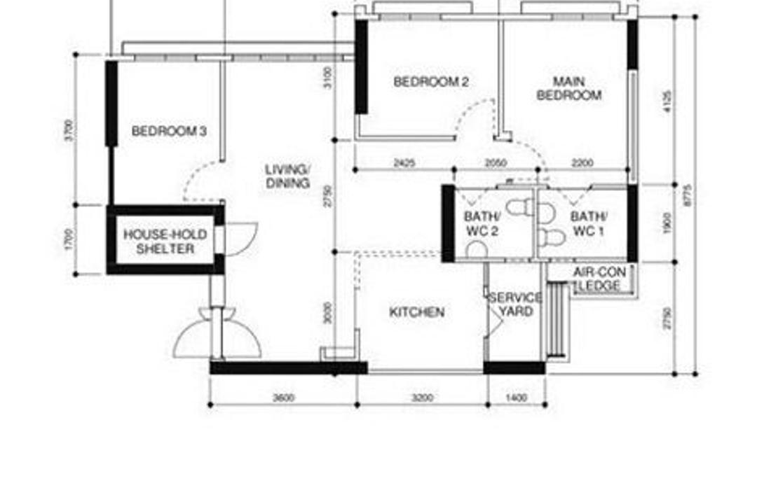Northshore Drive, Todz'Terior, Modern, HDB, 4 Room Hdb Floorplan, 4 Room Apartment, Type 2 B H, Original Floorplan