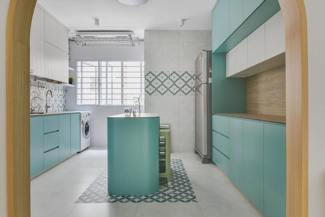 Bedok North Avenue 4, Urban Home Design 二本設計家, Contemporary, Eclectic, Kitchen, HDB, Kitchen Island