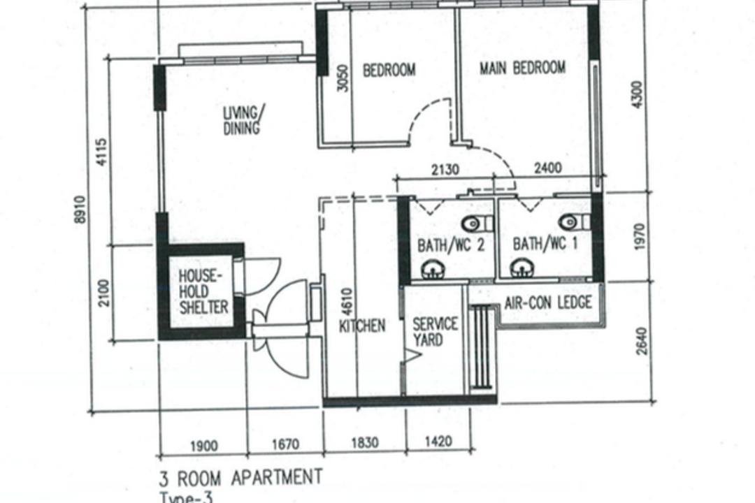 Bedok North Road, Space Atelier, Scandinavian, Contemporary, HDB, 3 Room Hdb Floorplan, 3 Room Apartment, Type 3, Original Floorplan