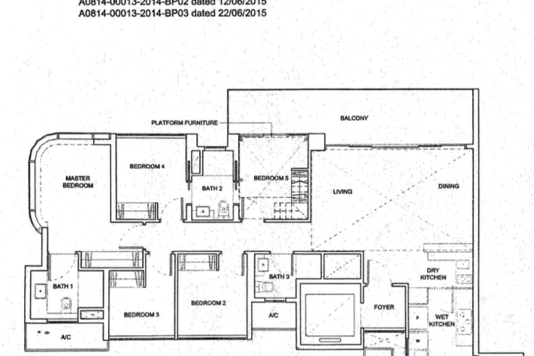 High Park Residences, Overhauled In. Design, Contemporary, Condo, 5 Bedder Condo Floorplan, Type 5 Lc Ph, Original Floorplan