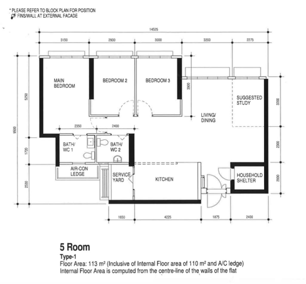 Contemporary, HDB, Ang Mo Kio Street 23, Interior Designer, Yang's Inspiration Design, 5 Room Hdb Floorplan, 5 Room Type 1, Original Floorplan
