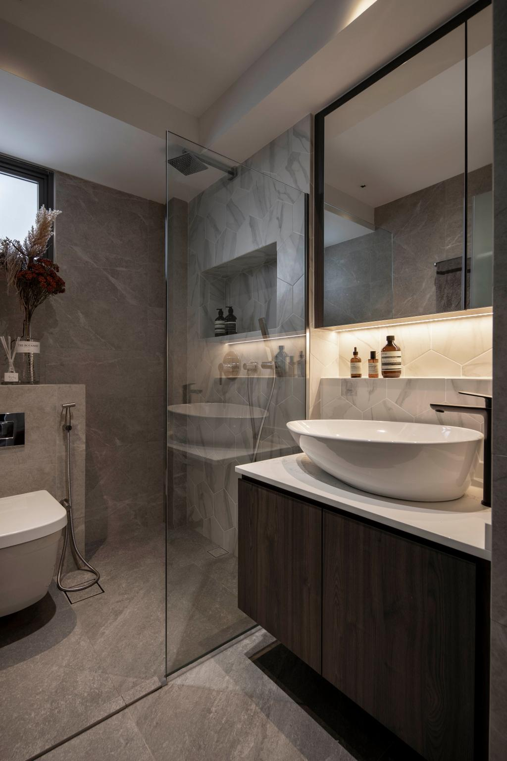 Contemporary, HDB, Bathroom, Yishun Avenue 11, Interior Designer, Parallelogram Design