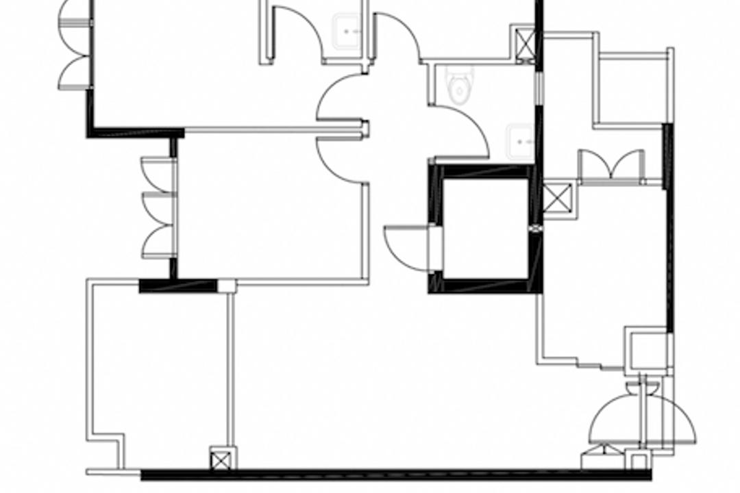 Yishun Avenue 11, Parallelogram Design, Contemporary, HDB, Dbss Floorplan, Before Floorplan