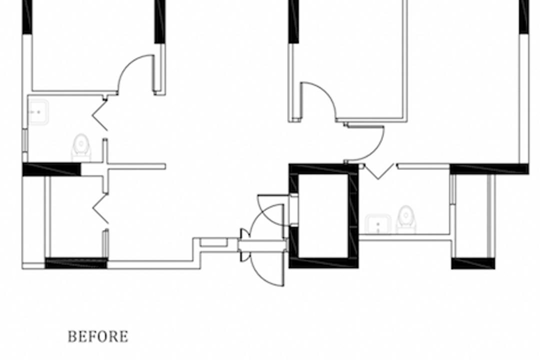 Bidadari Park Drive, Parallelogram Design, Contemporary, Minimalistic, HDB, 4 Room Hdb Floorplan, Before Floorplan