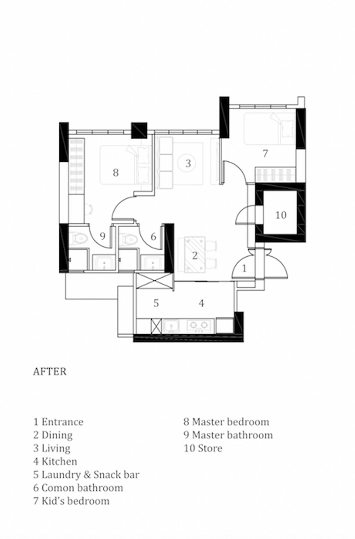 Contemporary, HDB, Skyparc @ Dawson, Interior Designer, Parallelogram Design, 3 Room Hdb Floorplan, Final Floorplan