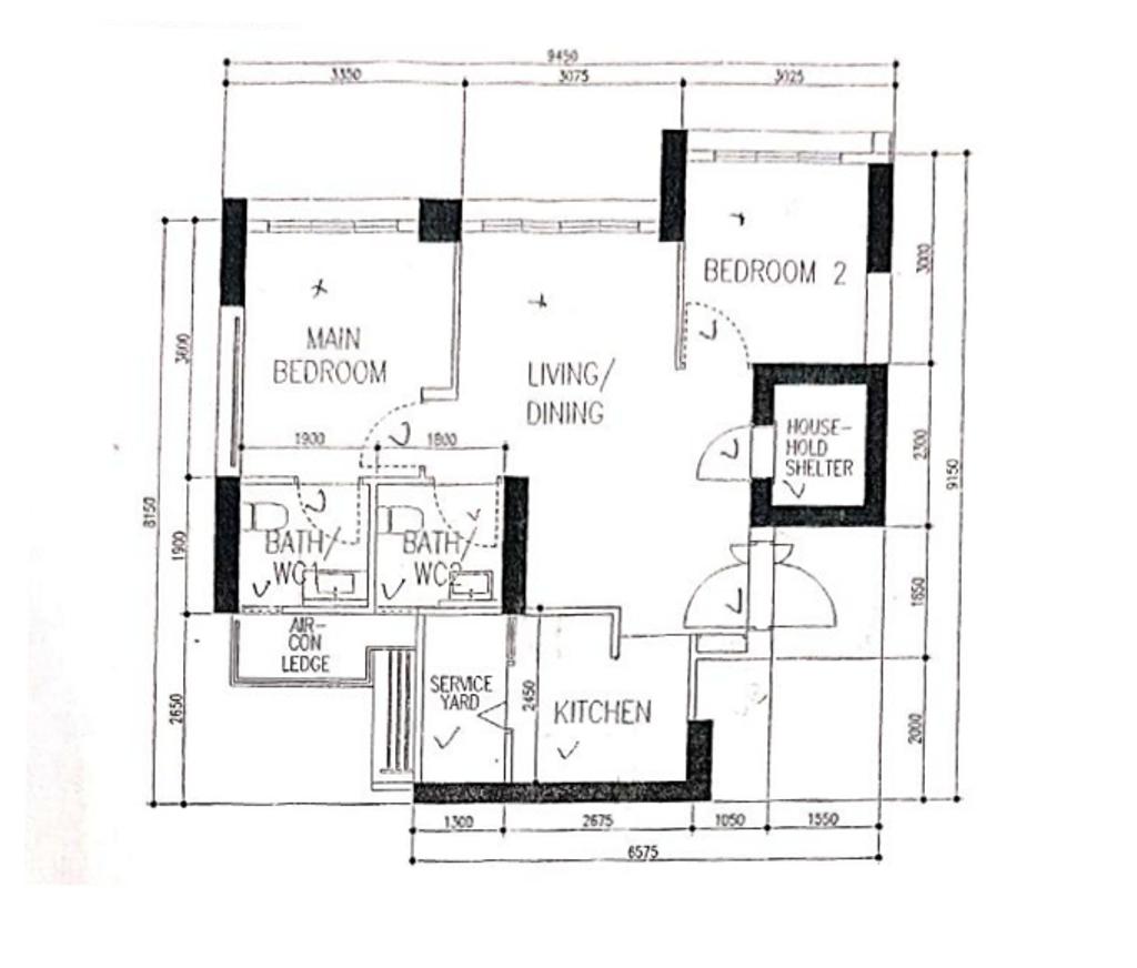 Scandinavian, HDB, Skyparc @ Dawson, Interior Designer, The Local Project, 3 Room Hdb Floorplan, Original Floorplan