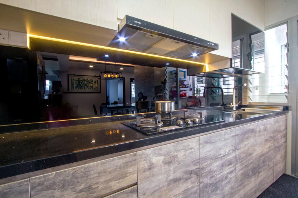 Contemporary, HDB, Kitchen, Woodlands Street 13, Interior Designer, Maxwell Interior Design