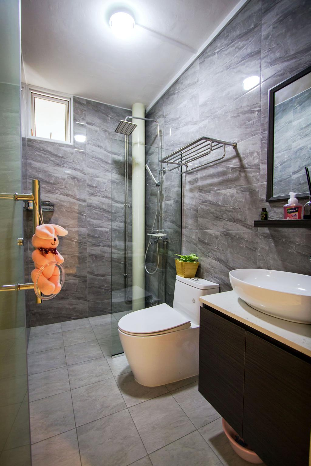 Contemporary, HDB, Bathroom, Woodlands Crescent, Interior Designer, Maxwell Interior Design