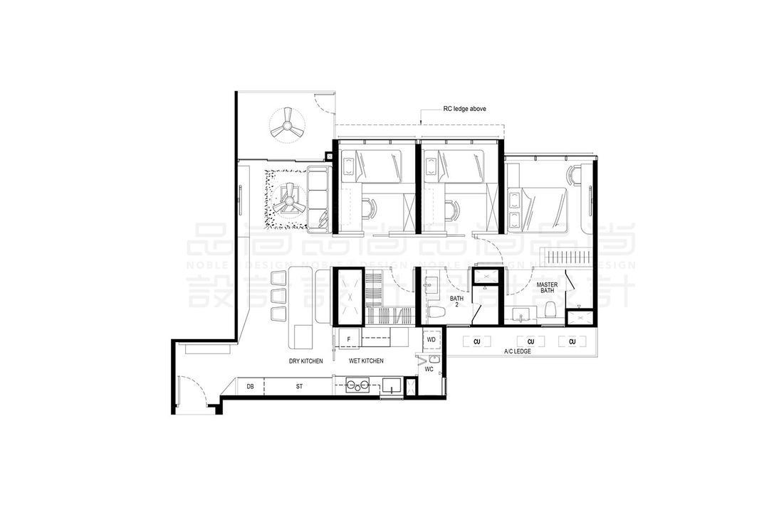 The Tapestry, Noble Interior Design, Contemporary, Condo, 3 Bedder Condo Floorplan, 3 Bedroom Premium Flexi, Final Floorplan