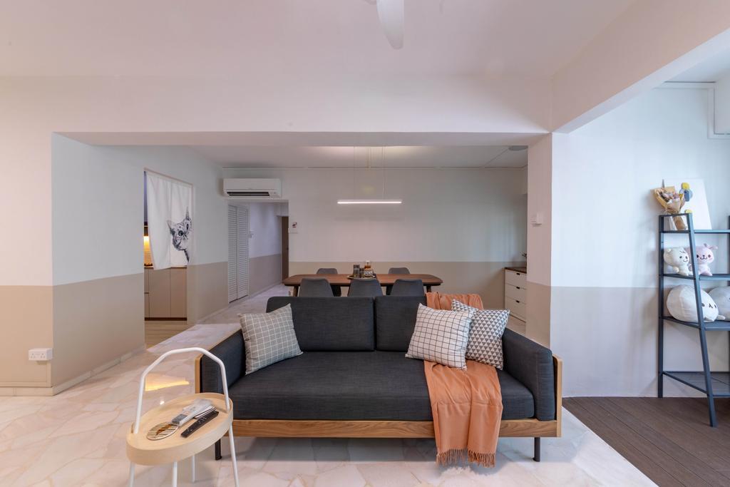 Contemporary, HDB, Living Room, Sembawang Crescent, Interior Designer, Livspace