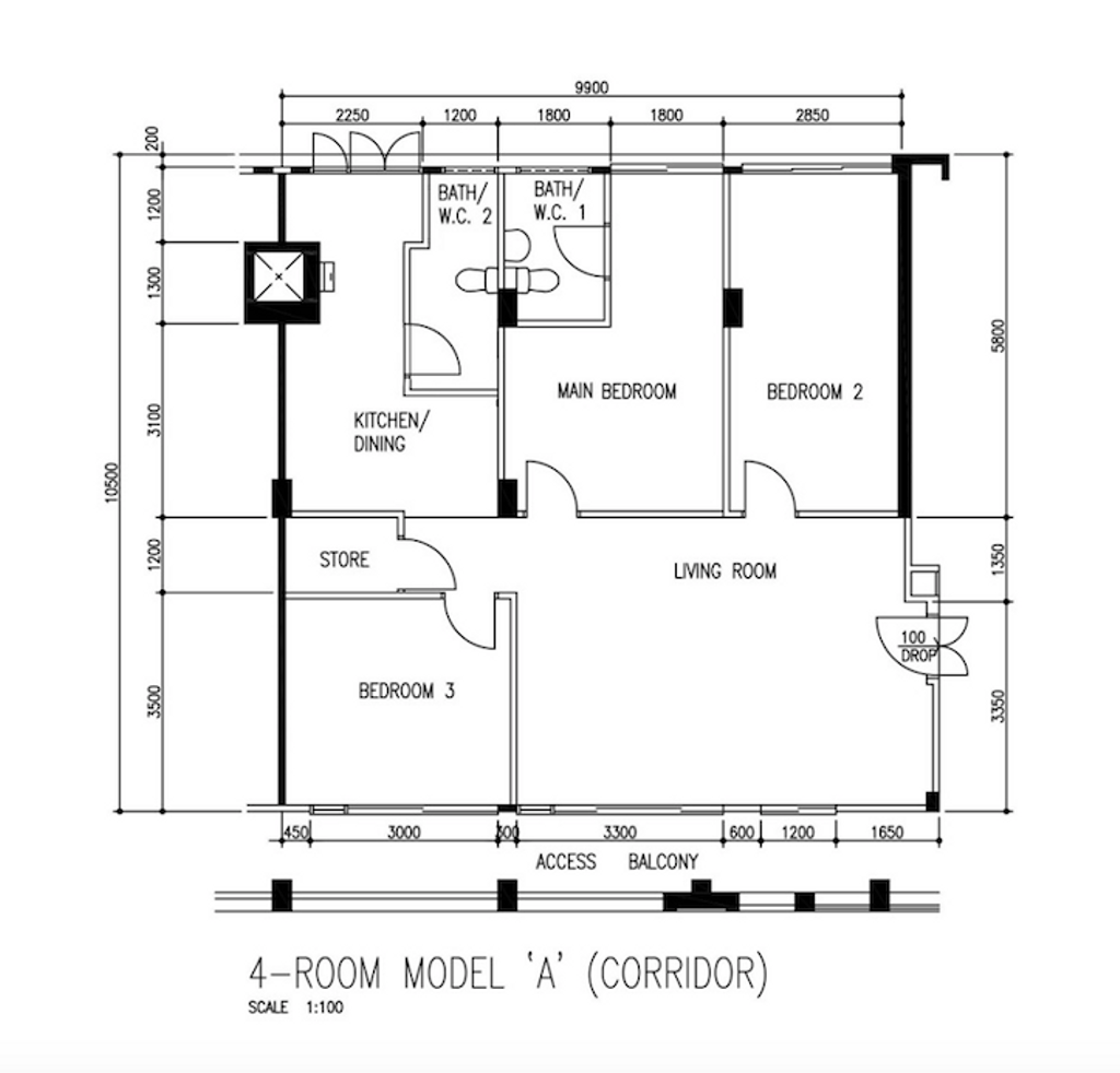 Contemporary, HDB, Tampines Central 1, Interior Designer, Maxwell Interior Design, 4 Room Hdb Floorplan, 4 Room Model A Corridor, Original Floorplan