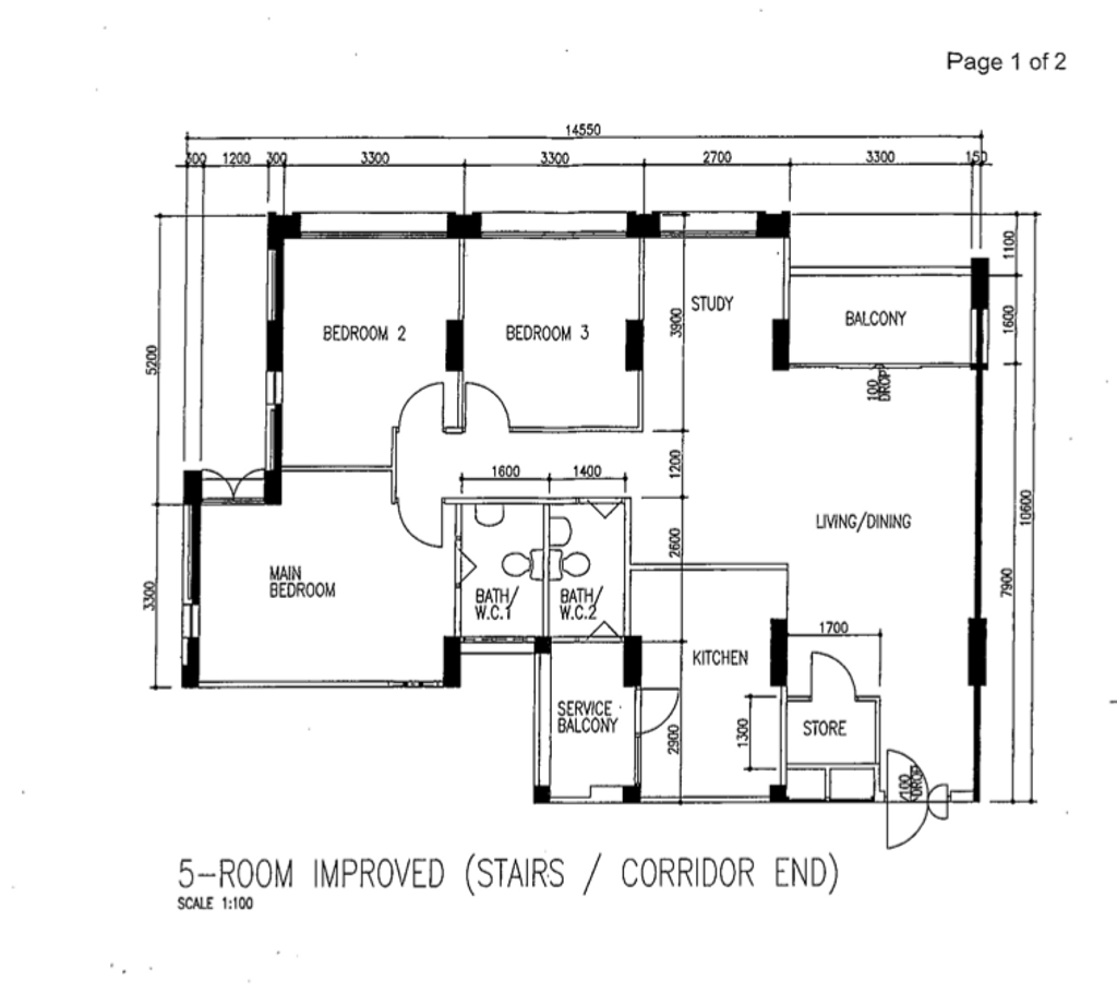 Contemporary, HDB, Woodlands Crescent, Interior Designer, Maxwell Interior Design, 5 Room Hdb Floorplan, 5 Room Improved Stairs Corridor End, Original Floorplan