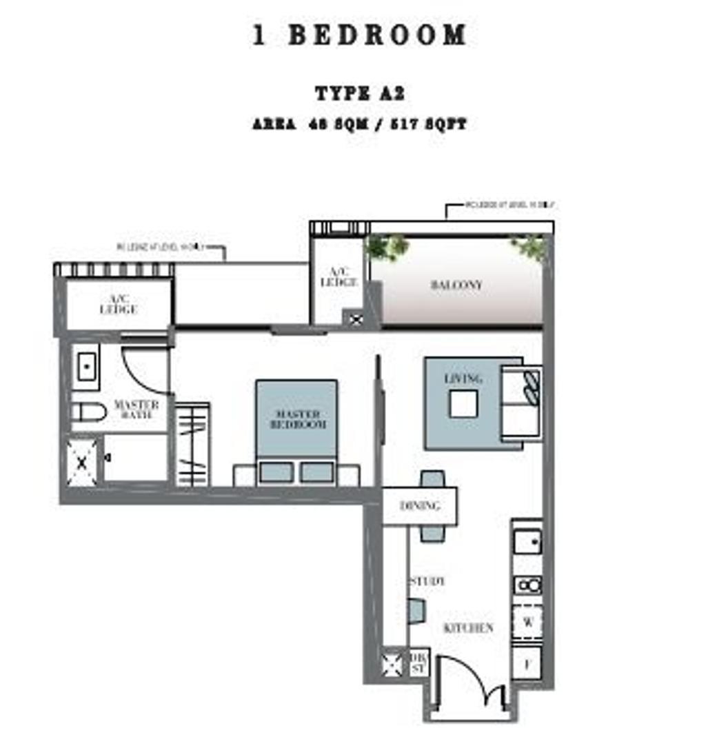Contemporary, Condo, Botanique at Bartley, Interior Designer, Space Define Interior, 1 Bedder Condo Floorplan, Type A 2, Original Floorplan