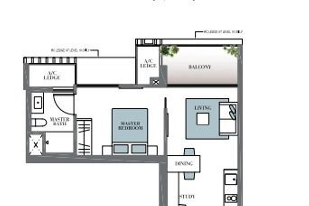 Botanique at Bartley, Space Define Interior, Contemporary, Condo, 1 Bedder Condo Floorplan, Type A 2, Original Floorplan