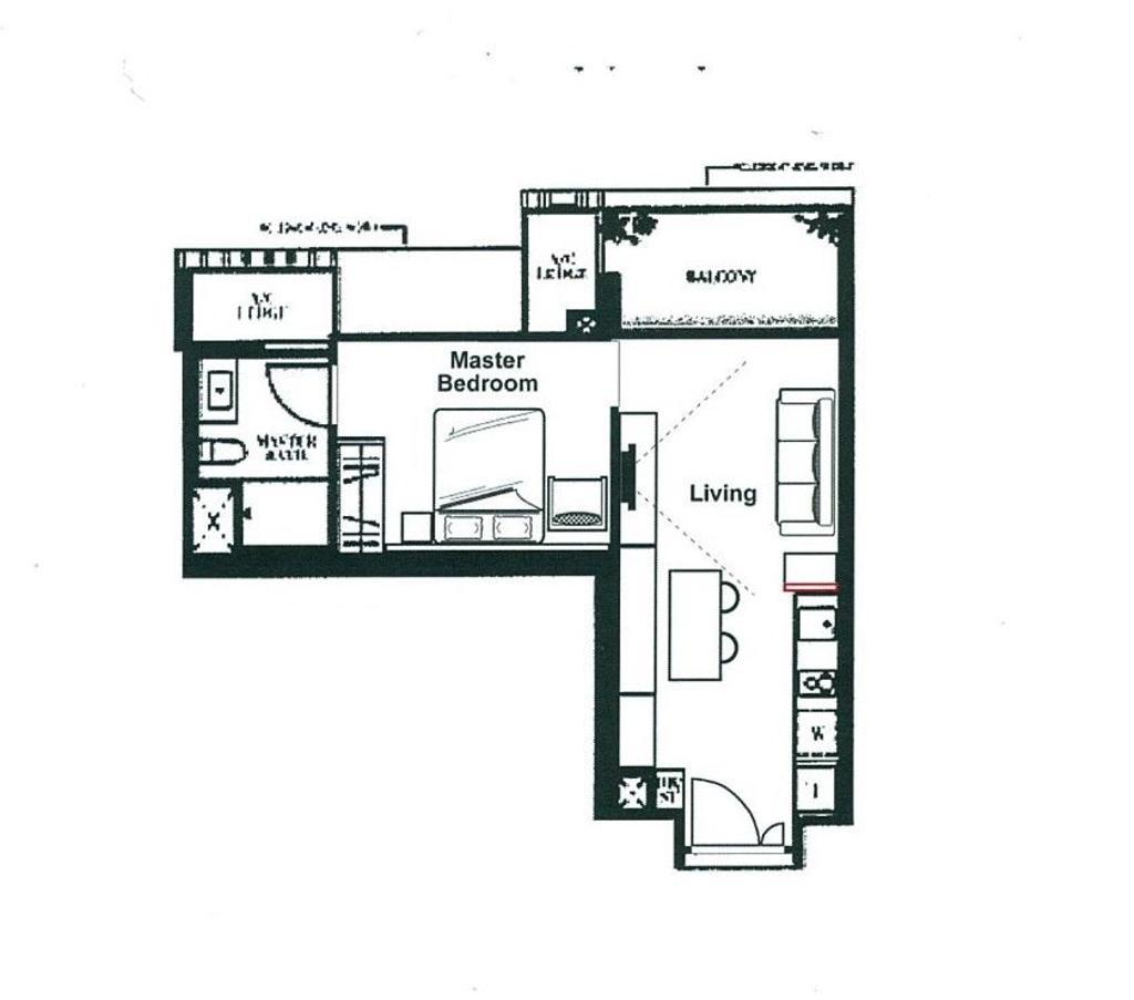 Contemporary, Condo, Botanique at Bartley, Interior Designer, Space Define Interior, 1 Bedder Condo Floorplan, Type A 2, Final Floorplan