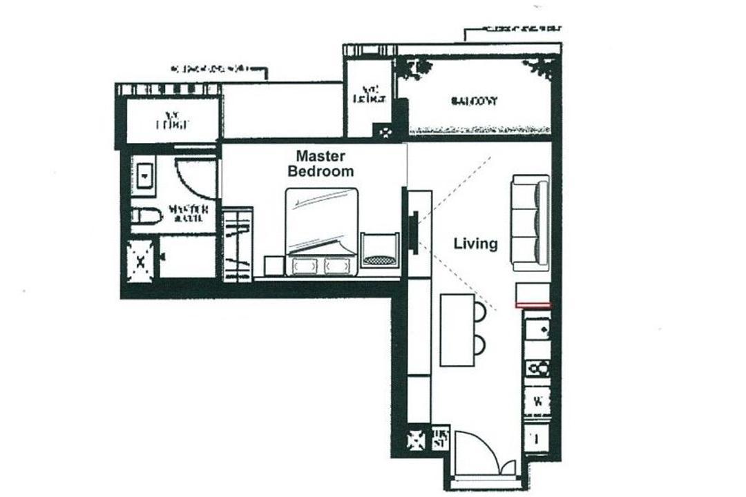 Botanique at Bartley, Space Define Interior, Contemporary, Condo, 1 Bedder Condo Floorplan, Type A 2, Final Floorplan
