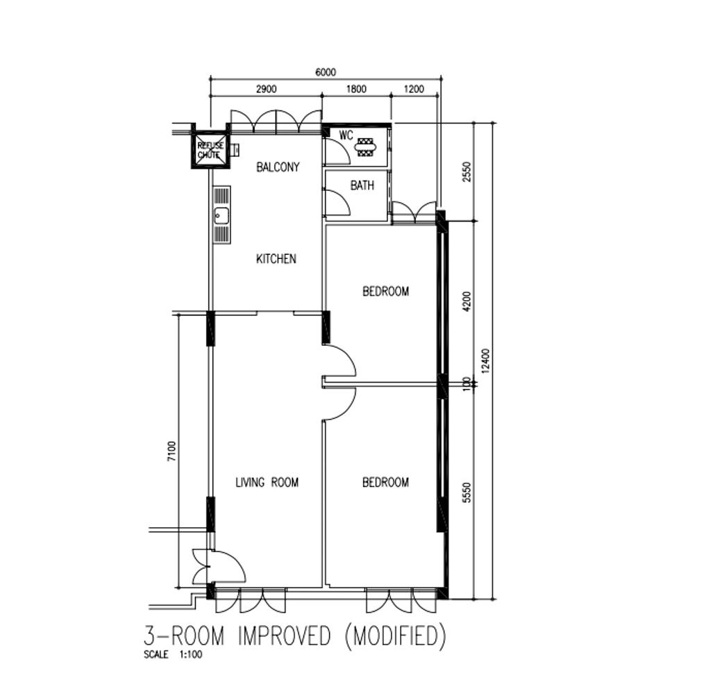 Contemporary, HDB, King George's Avenue, Interior Designer, MET Interior, 3 Room Hdb Floorplan, 3 Room Improved Modified, Original Floorplan