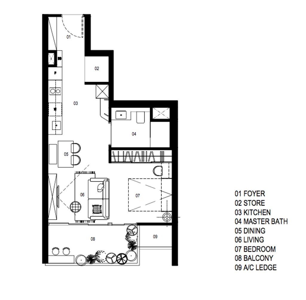 Contemporary, Condo, Seaside Residences, Interior Designer, A Blue Cube Design, 1 Bedder Condo Floorplan, Studio Apartment, Space Planning, Final Floorplan