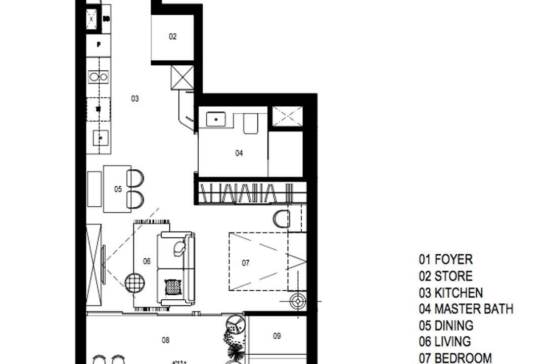 Seaside Residences, A Blue Cube Design, Contemporary, Condo, 1 Bedder Condo Floorplan, Studio Apartment, Space Planning, Final Floorplan