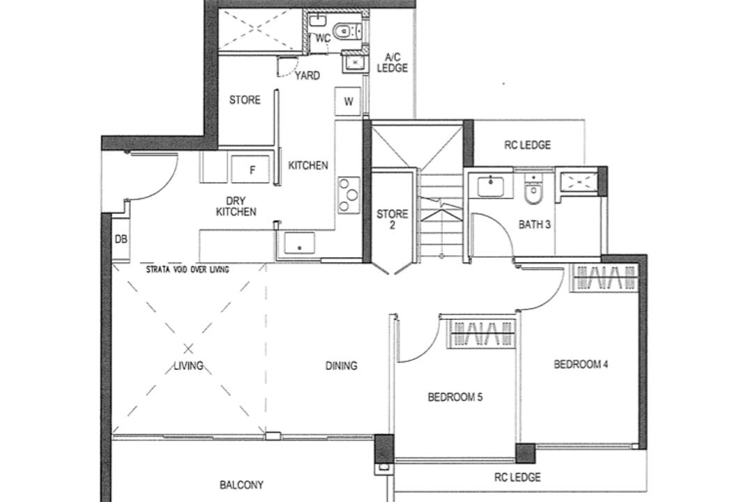 iNz Residence, Swiss Interior Design, Contemporary, Condo, 3 Bedder Condo Floorplan, Type E 1, Original Floorplan